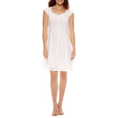 Liz Claiborne Short Sleeve Lace Fit & Flare Dress