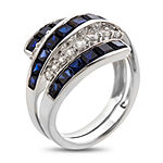 Womens Blue & White Lab-Created Sapphire Sterling Silver Cocktail Ring