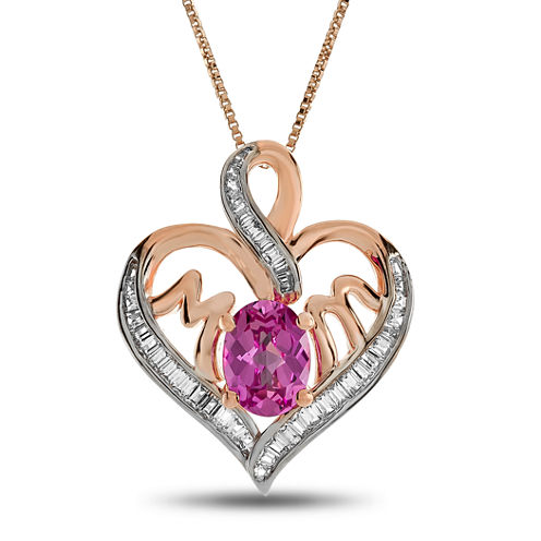 Womens Pink Sapphire 14K Rose Gold Over Silver Heart Pendant Necklace