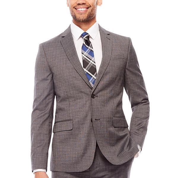 659aca7bc90 JF J. Ferrar Stretch Gray Multi Check Suit Separates- Slim Fit ...