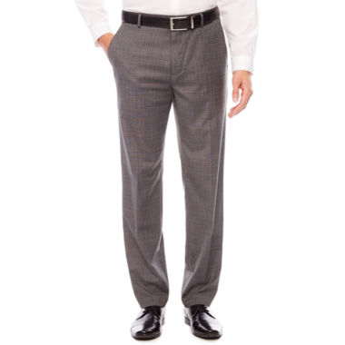 Men's JF Stretch Gray Check Flat-Front Straight-Leg Slim Pant