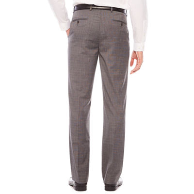 Men's JF Stretch Gray Check Flat-Front Straight-Leg Classic Pant