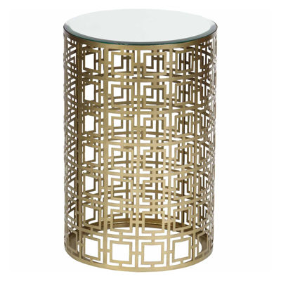 Pierced Geometric Chairside Table