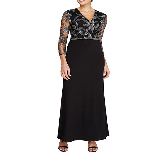 Maya Brooke 3/4 Sleeve Embroidered Evening Gown