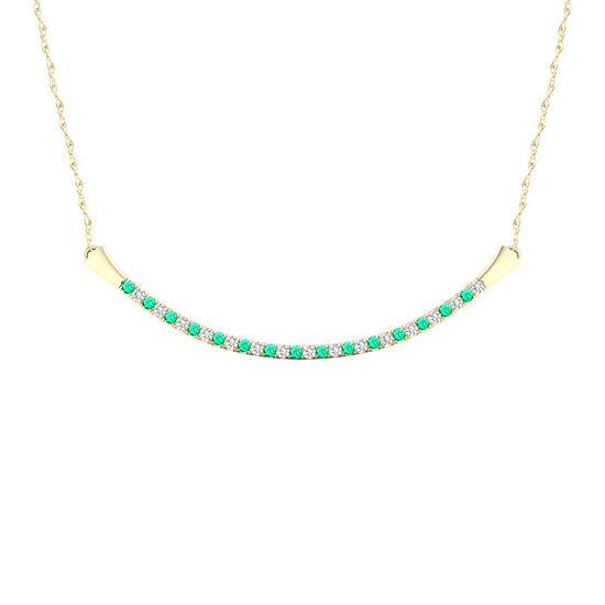 Womens Diamond Accent Genuine Green Emerald 10K Gold Pendant Necklace