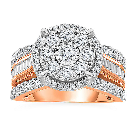 Womens 2 CT. T.W. Genuine White Diamond 10K Rose Gold Engagement Ring