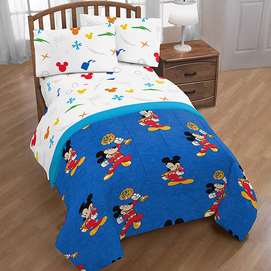 Disney Mickey Mouse Racer 4-pc. Mickey Mouse Reversible Complete Bedding Set with Sheets