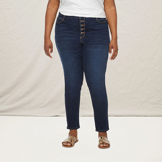 a.n.a-Plus Womens High Rise Button Fly Skinny Jean