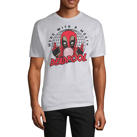 Mens Crew Neck Short Sleeve Deadpool Graphic T-Shirt