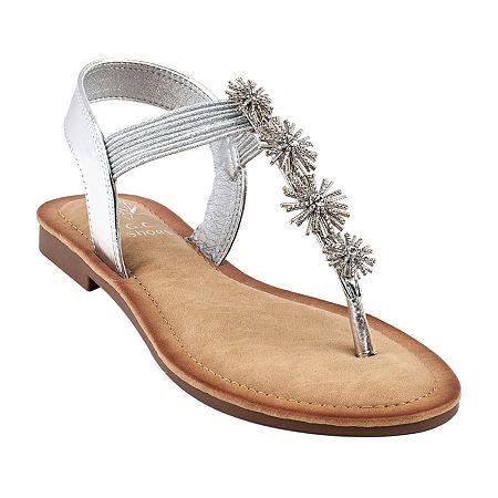 GC Shoes Womens Carlie Flat Sandals, 7 1/2 Medium, Silver