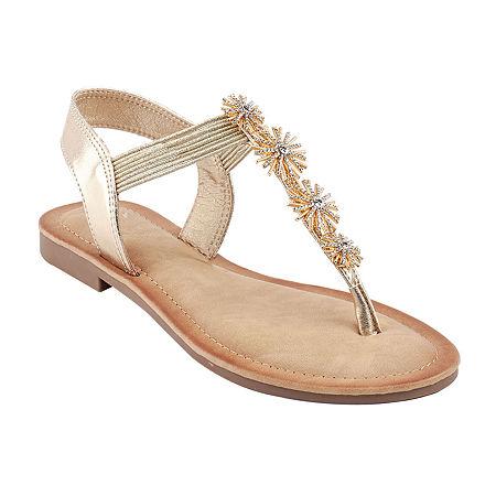 GC Shoes Womens Carlie Flat Sandals, 7 Medium, Yellow