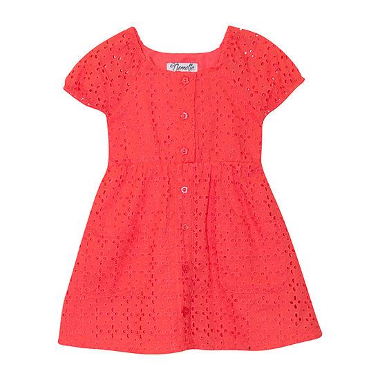 Nannette Baby - Toddler Girls Short Sleeve Puffed Sleeve A-Line Dress