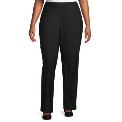 Alfred Dunner-Plus Short Riverside Drive Womens Straight Pull-On Pants