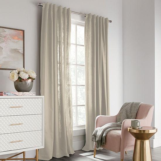 Liz Claiborne Nora 100% Cotton Light-Filtering Rod-Pocket Back-Tab Single Curtain Panel