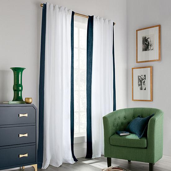 Liz Claiborne Nora Bordered 100% Cotton Light-Filtering Back-Tab Single Curtain Panel