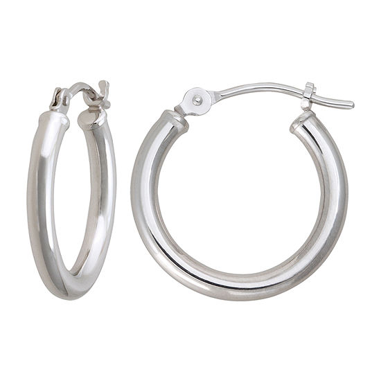 10K White Gold 15.2mm Hoop Earrings
