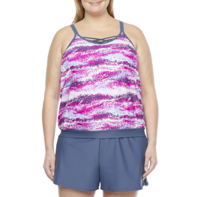 Free Country Blouson Swimsuit Top Plus