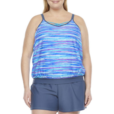 Free Country Striped Blouson Swimsuit Top Plus