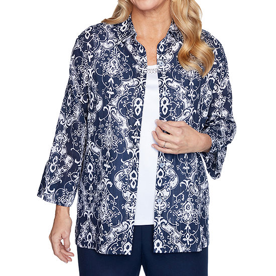 Alfred Dunner Anchor's Away Womens 3/4 Sleeve Layered Top