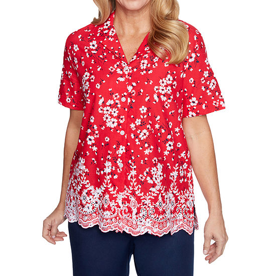 Alfred Dunner Anchor's Away Womens Short Sleeve Embroidered Blouse
