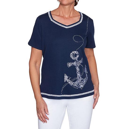 Alfred Dunner Anchor's Away Womens V Neck Short Sleeve T-Shirt