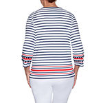 Alfred Dunner Anchor's Away Womens Crew Neck 3/4 Sleeve T-Shirt