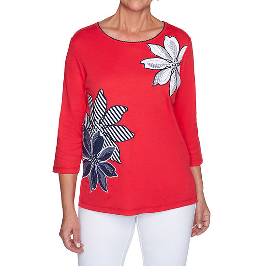 Alfred Dunner Anchor's Away Womens Round Neck 3/4 Sleeve T-Shirt