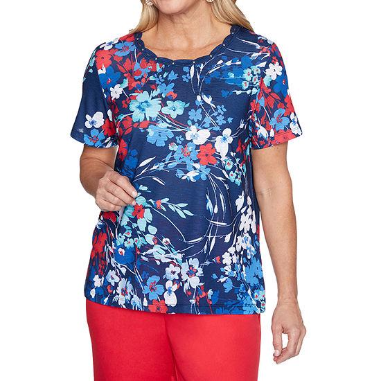 Alfred Dunner Anchor's Away Womens Crew Neck Short Sleeve T-Shirt