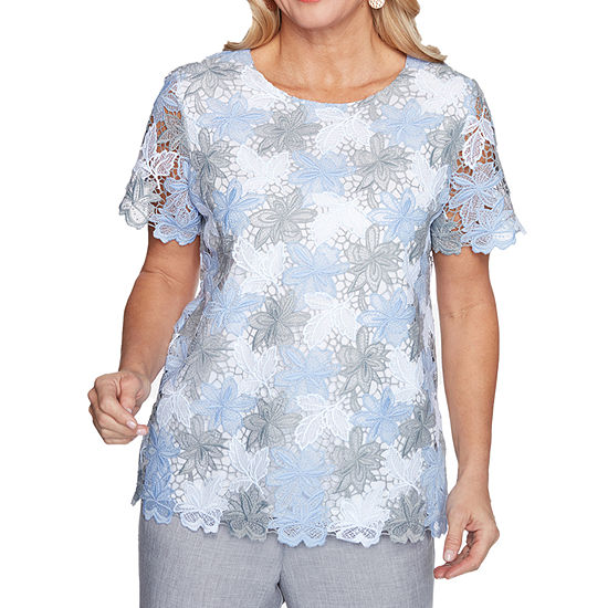 Alfred Dunner French Bistro Womens Round Neck Short Sleeve T-Shirt