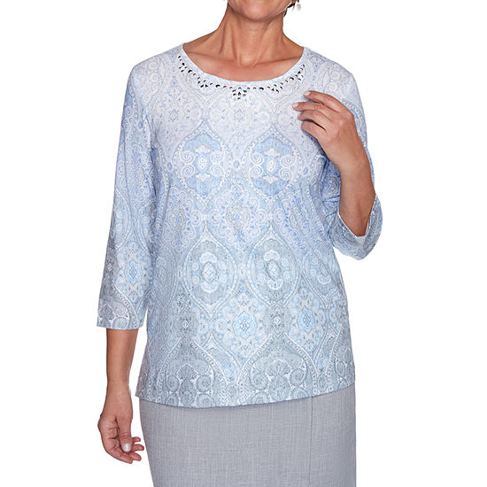 Alfred Dunner French Bistro Womens Round Neck 3/4 Sleeve T-Shirt