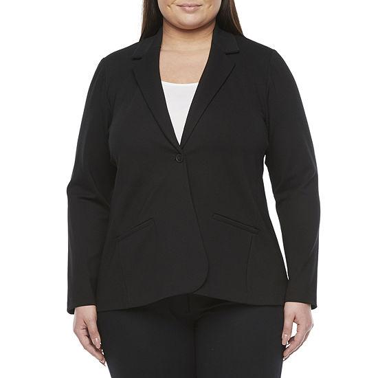 Worthington Womens Regular Fit Ponte Blazer-Plus