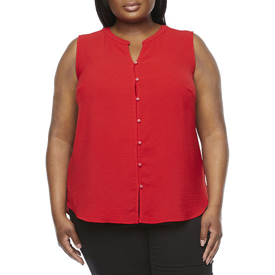 Liz Claiborne Plus Womens Sleeveless Regular Fit Button-Down Shirt