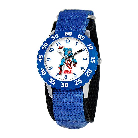 Marvel Time Teacher Captain America Boys Blue Strap Watch-Wma000045