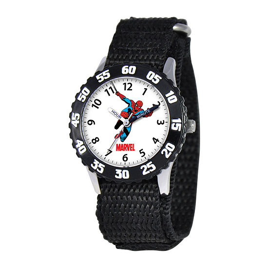 Marvel Spiderman Time Teacher Kids Black Fast Strap Watch