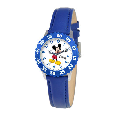 Disney Articulating Mickey Mouse Kids Blue Leather Strap Watch
