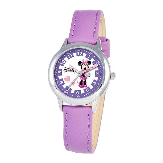 Disney Time Teacher Minnie Mouse Kids Purple Leather Strap Watch