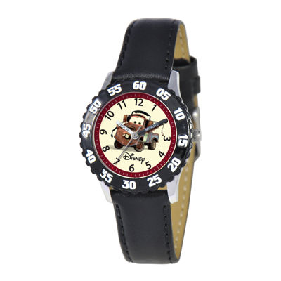 Disney Cars Kids Leather Strap Easy-Read Time Teacher Watch