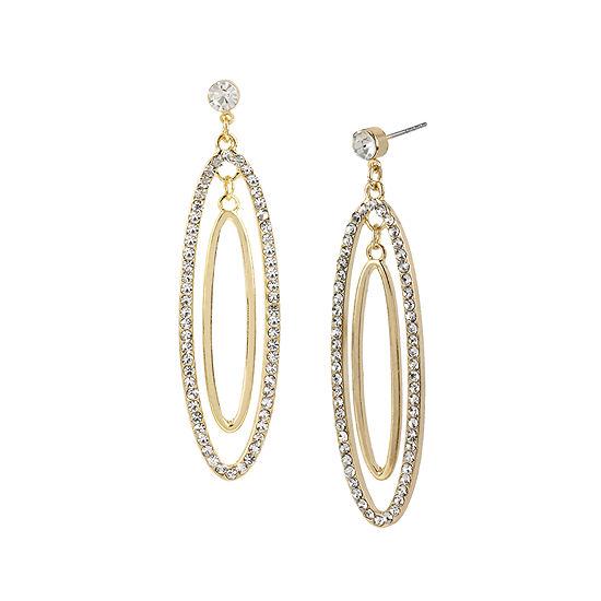 Worthington Crystal Accent 2 Oval Hoop Earrings