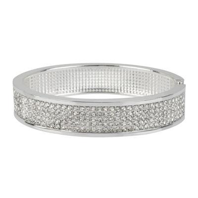 Worthington® Crystal-Accent Hinged Bangle Bracelet