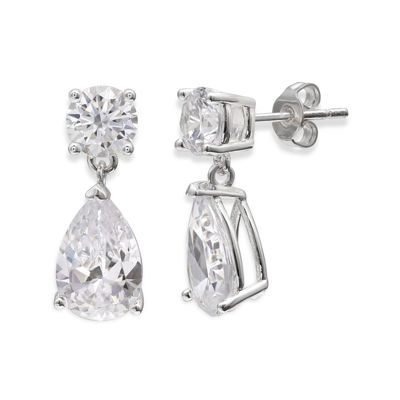 Sparkle Allure™ Cubic Zirconia Silver-Plated Teardrop Earrings