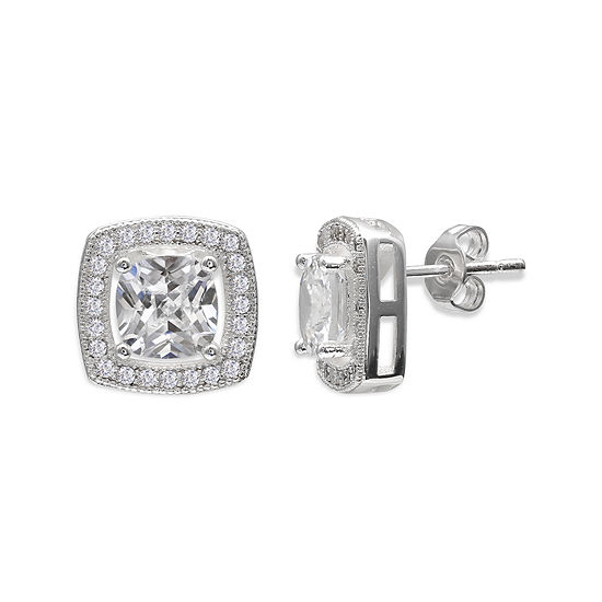 Sparkle Allure™ Cubic Zirconia Silver-Plated Cushion-Cut Halo Earrings