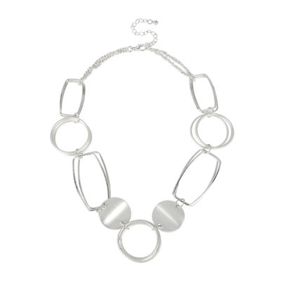Bold Elements™ Silver-Tone Disk and Link Necklace