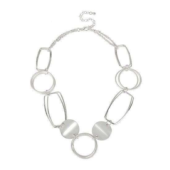 Bold Elements Silver Tone Disk And Link Necklace