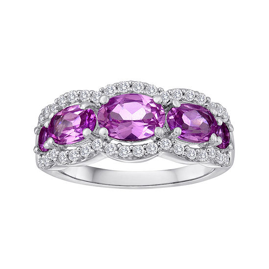 Lab-Created Pink & White Sapphire 5-Stone Sterling Silver Ring