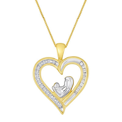 Mom & Baby 1/10 CT. T.W. Diamond 10K Yellow Gold Heart Pendant Necklace