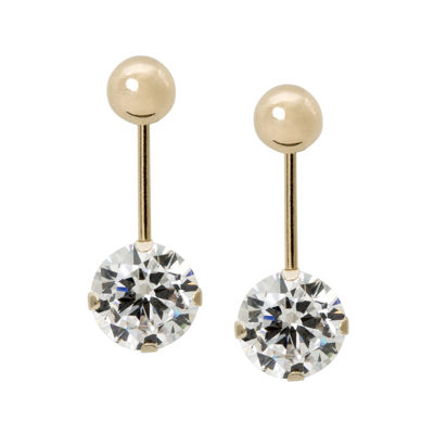Cubic Zirconia and 14K Yellow Gold Ball Front-To-Back Stud Earrings