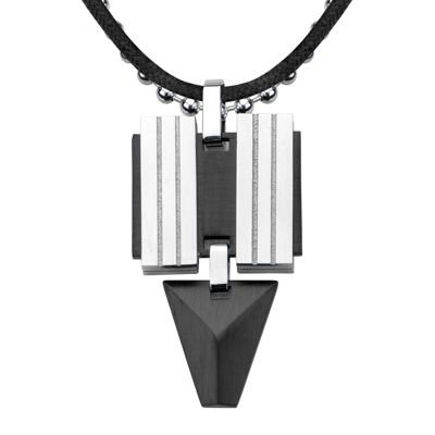 Inox® Jewelry Mens Black Leather, Stainless Steel and Black IP Pendant