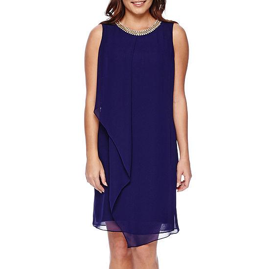 MSK Sleeveless Chiffon Necklace Shift Dress
