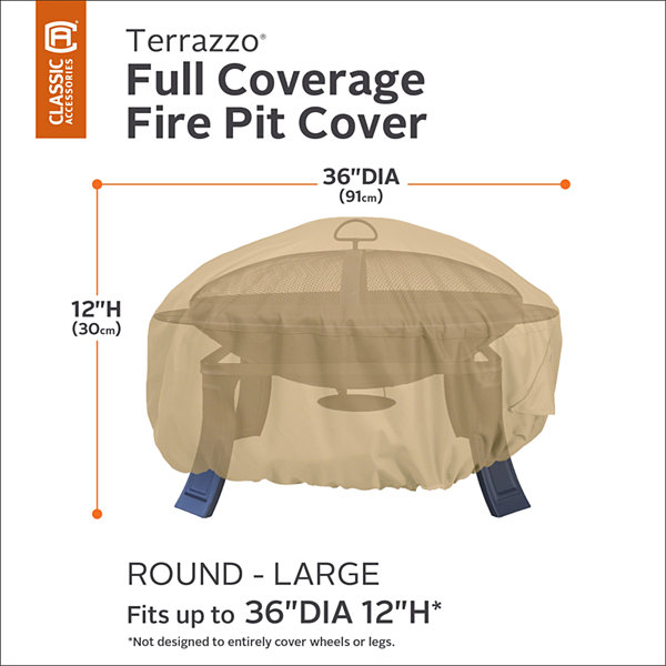 Classic Accessories® Terrazzo Large Round Fire Pit Full-Coverage Cover