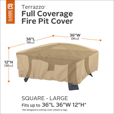 Classic Accessories® Terrazzo Large Square Fire Pit Full-Coverage Cover